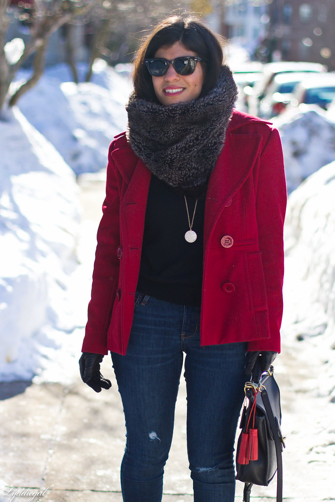 red peacoat, furry cowl, distressed jeans-5.jpg