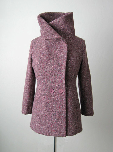 Burda plum coat collar up