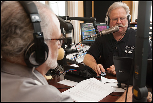 Father Ron on the air with Big D. WWOZ 2015 Spring Pledge Drive day 9. photo by Ryan Hodgson-Rigsbee www.rhrphoto.com