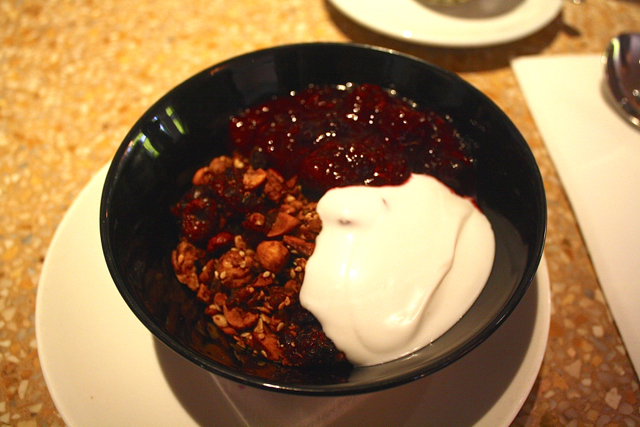 Bill's Granola, dairy-free coconut yoghurt & fruit compote at Granger & Co., Notting Hill, London