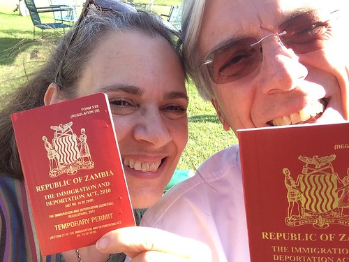 Jane and Simon Berry with the Zambian temporary permits
