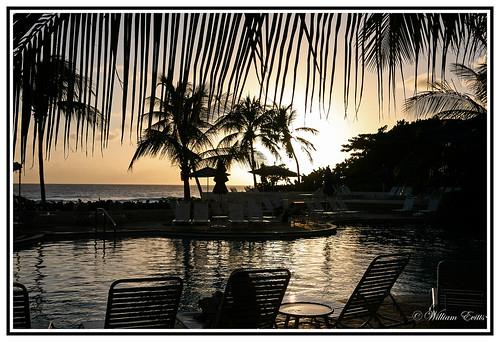ocean sunset silhouette canon view relaxing barbados caribbean charming bridgetown