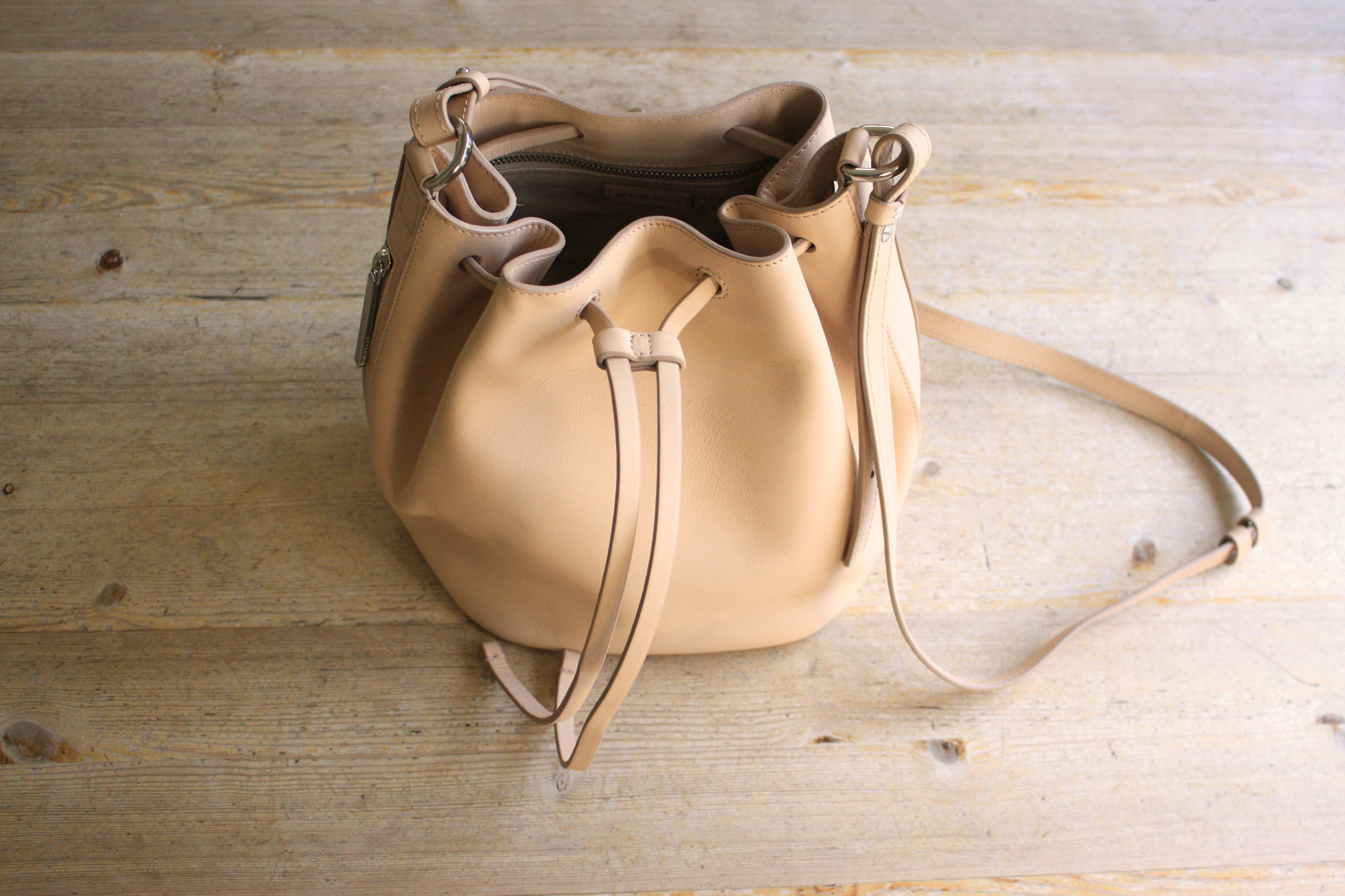 whistles onslow nude mini bucket bag