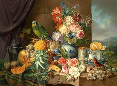 Still life with fruits, flowers and parrot (1836)
