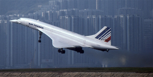 "Aerospatiale-British Aerospace, Concorde, F-BTSD, ""Air France"", VHHH, Kai Tak, Hong Kong"