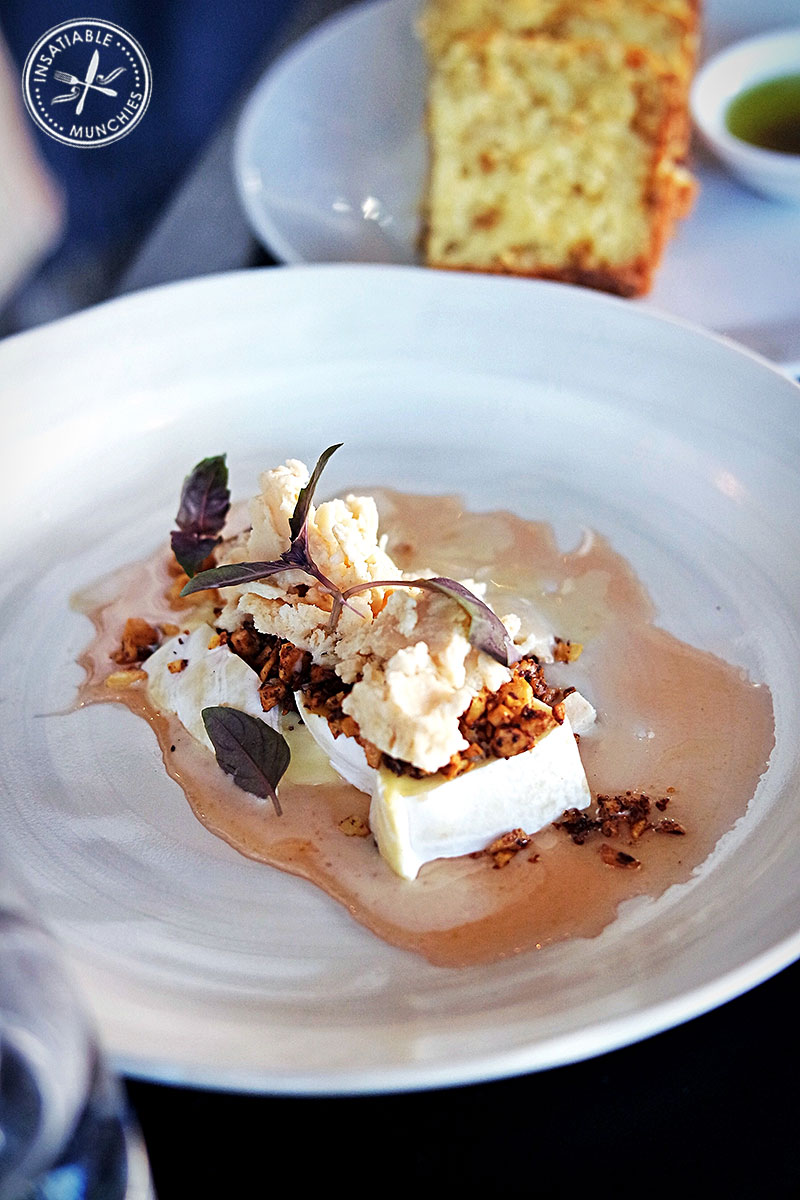 Double cream brie, roasted salted almonds, almond granita and dandelion syrup