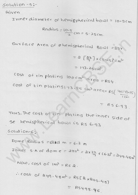 RD Sharma Class 9 solutions Chapter 21 Surface Area and volume of A Sphere Ex  21.1 3