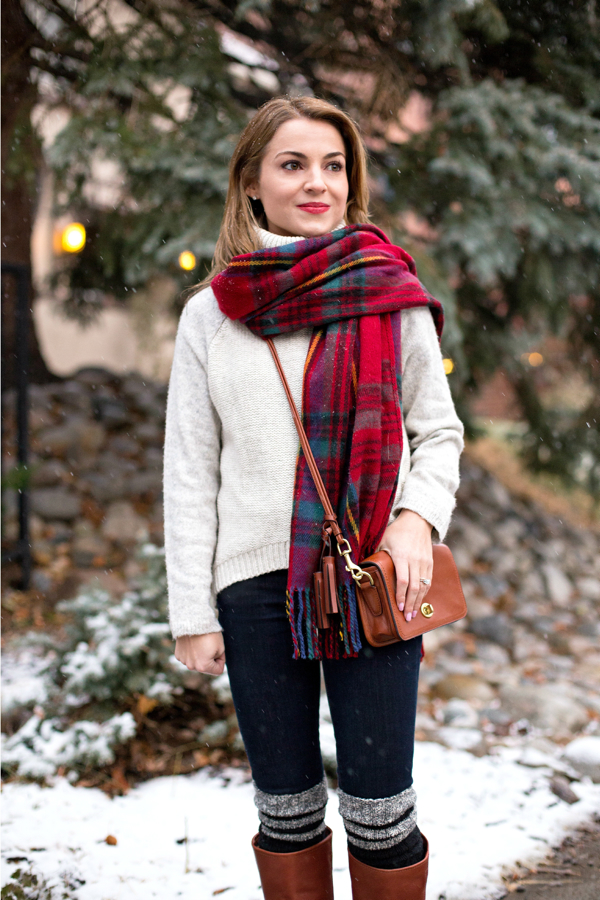 Cozy Plaid Blanket Scarf + Turtleneck Sweater