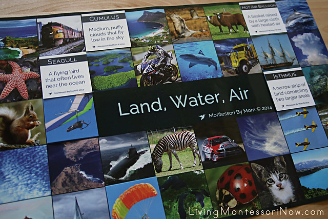 Advanced Matching Activity for Land, Water, Air Cards and Images on Poster