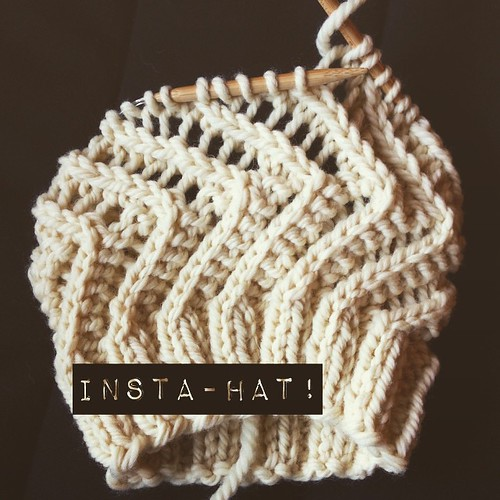 Insta-hat pattern part 4 #leethalinstahat :  After a yo from ending the last part, k1, place marker, and begin round 1 (marker is now the round beginning/end point - slip it after completing each round).          Round 1: [Yo, k2, k2tog] to end.   Round 2