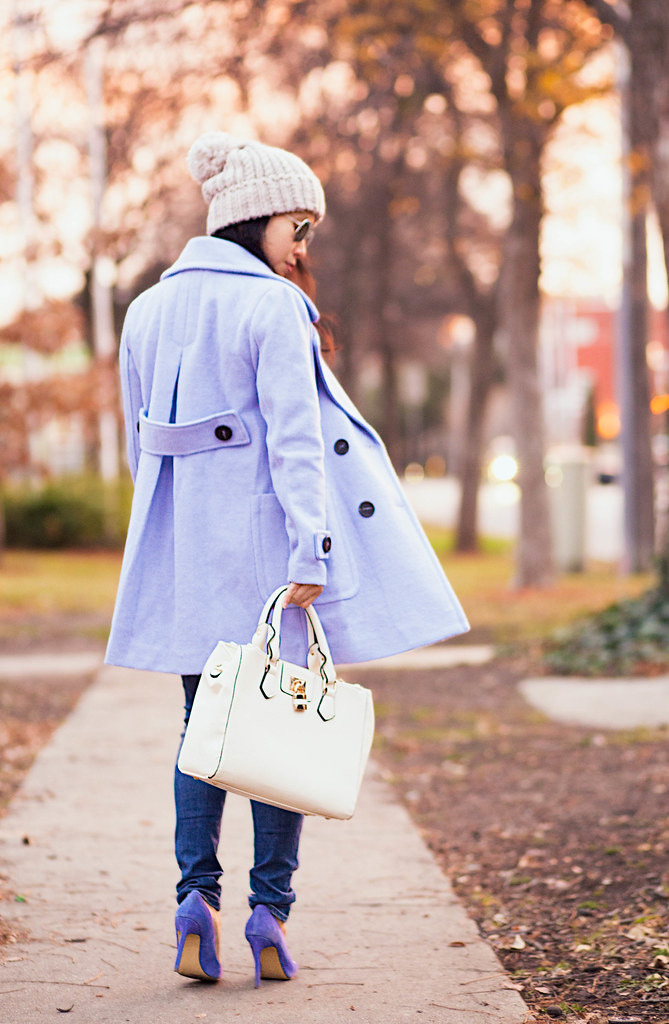 cute & little blog | petite fashion #maternity #bumpstyle | oasap pastel blue wool coat, multistrand pearl necklace, ag distressed jeans, blue suede pumps, grey pom beanie | fall winter outfit