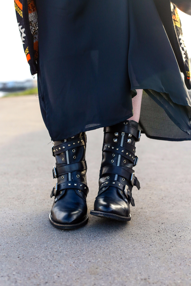 studded boots, biker ankle boots