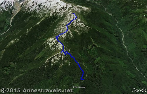 Skyline Divide Trail Visual Map - up is South; down is North. Mount Baker-Snoqualmie National Forest, Washington