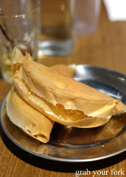 Apam balik with peanuts and sugar at Hawker Malaysian, Sydney