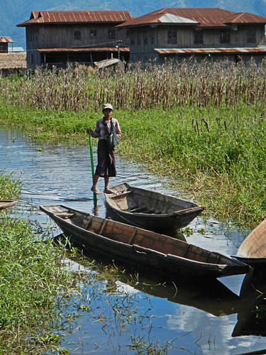 Traditional Paddling of Boats with the Foot on Our Inle Lake Bike Trip