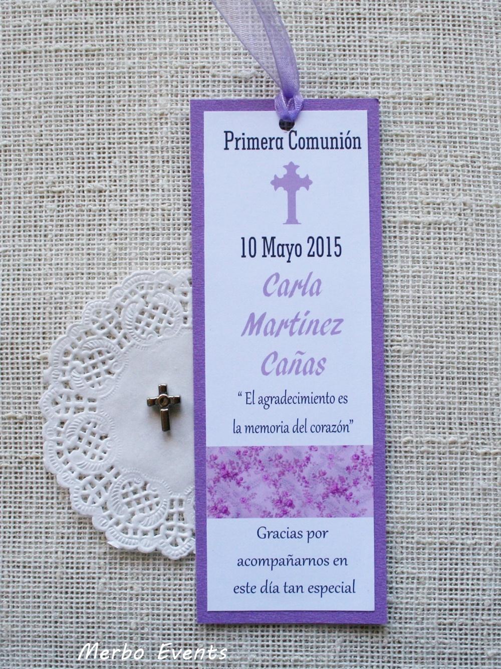 Conjunto Violetas Invitaciones y punto de libro Colección Comuniones Niñas Merbo Events