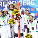 KREISCHBERG, AUSTRIA-Jan 19: Justine Dufour-Lapointe, Philippe Marquis, Mikaël Kingsbury Hannah Kearney, Yulia Galysheva, Marc-Antoine Gagnon pose after the dual moguls competition at 2015 FIS Freestyle Ski World Championships.