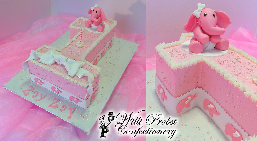 Number 1 Pink Elephant Themed Birthday Cake