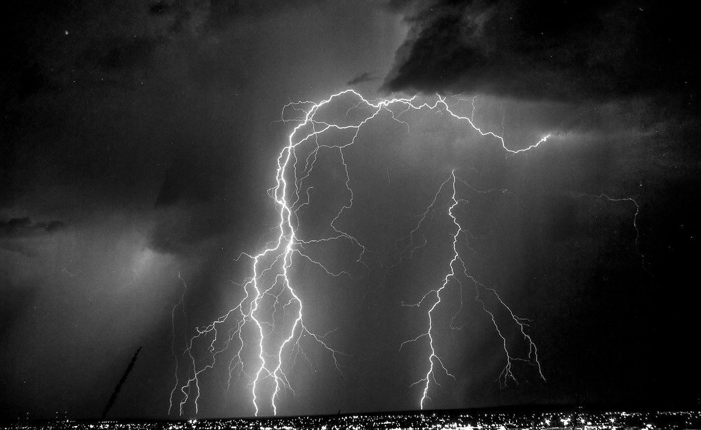 Lightning Crashes Over El Paso