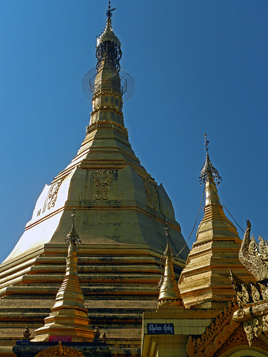 Intricate detailing on Sule Pagoda, located in a traffic circle in Yangon, Myanmar