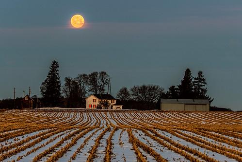 winter moon rio wisconsin rural sunrise unitedstates farm ©jrj