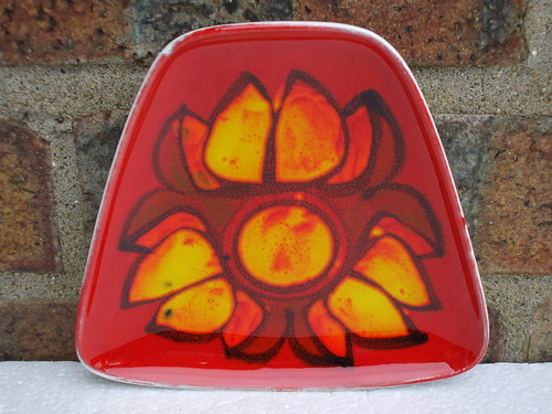 Poole Pottery England Orange Delphis Plate Mid Century Modern Abstract Design 1970's Retro