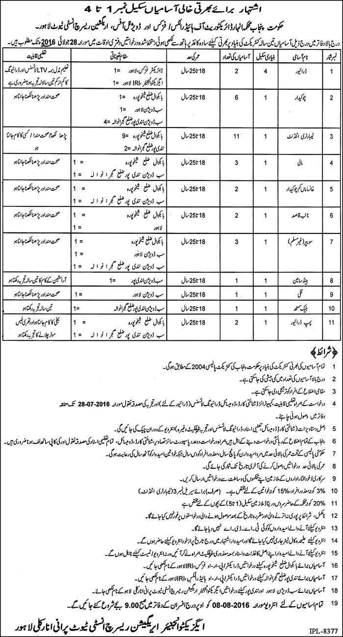 Government of Punjab BPS-1 to BPS-4 Jobs