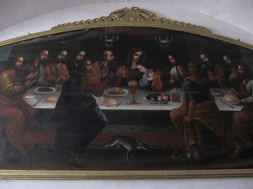 Sucre: La Cène. Comme au Pérou, elle est représentée avec un cuy en mets principal et Judas, le traitre, avec la face rouge ou un habit rouge (pour évoquer le diable)