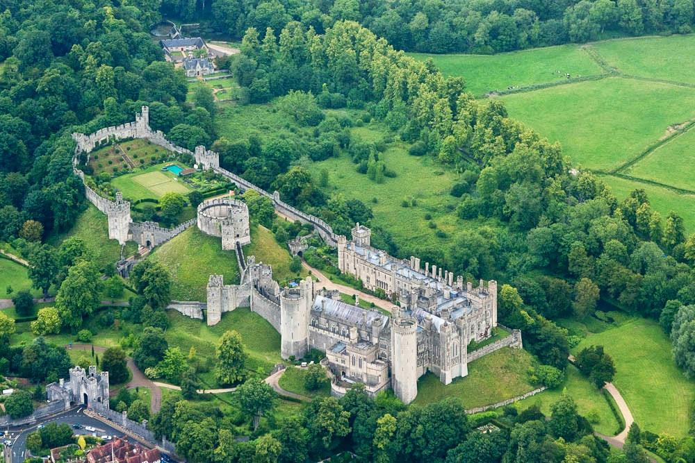 Arundel Castle aerial view. Credit Miles Sabin