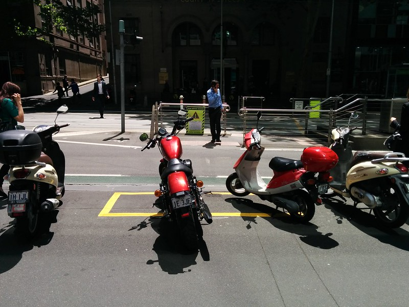 Motorcycle parking adjacent tram stop
