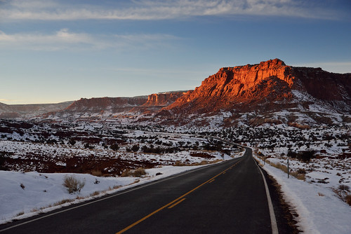 road park winter light sunset red snow beauty clouds landscape utah january scenic capitol national reef
