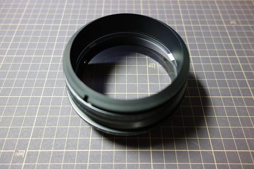 object lens_2 自作の天体望遠鏡の写真。対物レンズセルを写したもの。レンズの向こう側に焦点があっている