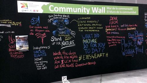 2014世界保護區大會,community wall。圖片提供:鍾蕙先