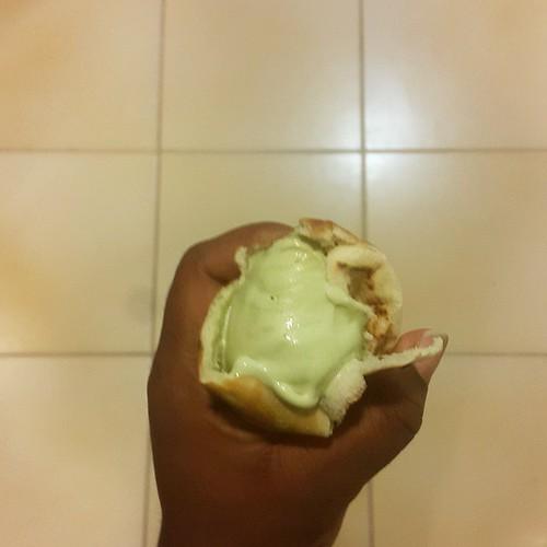 Arabian icecream sandwich - pistachio icecream from Ice Factory in warm, freshly made pita bread from Jedoudna.  Delicious. Delicious. Delicious.  #vscocam #Lebanesecuisine #Arabiannights #wouldbelovelywithrosewaterandalmonds #dubai #foodcombos