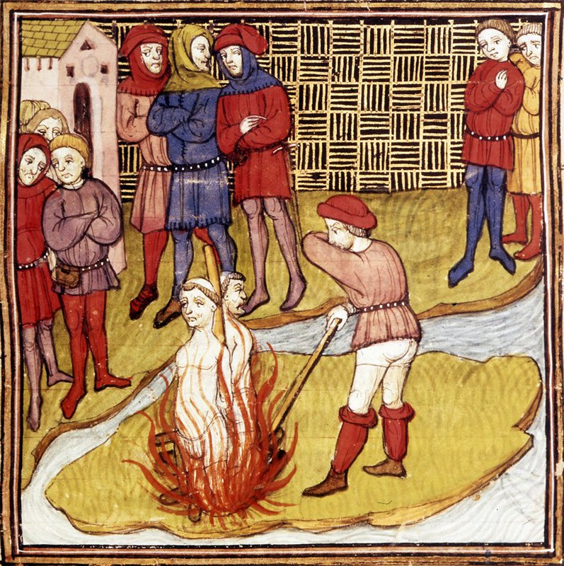 Detail of a miniature of burning of the Grand Master of the Templars from the Chroniques de France
