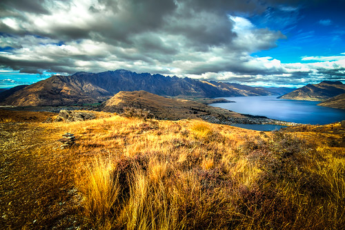 new lake fall field clouds landscape outdoors golden hiking adventure zealand queenstown wakatipu