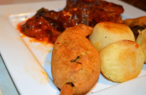 Jerk Goat Curry, Roast Potato & Stuffed Green Chilli
