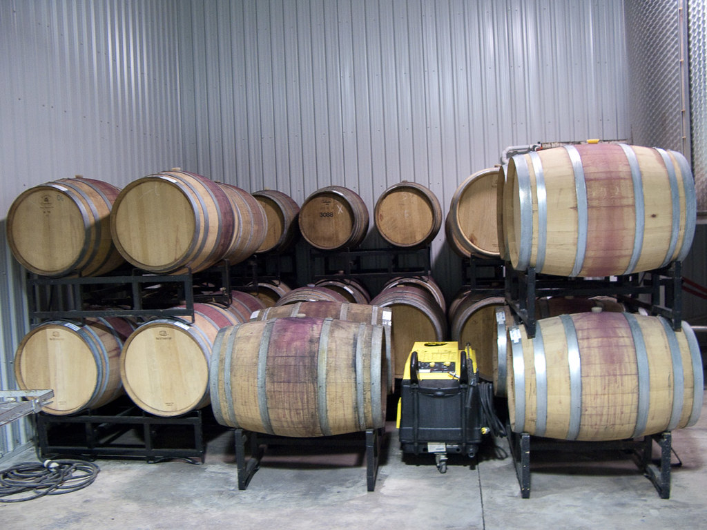 Wine barrels at Riverview Estates Winery