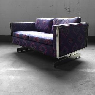 Vintage Cantilevered Chrome Love Seat Sofa (U.S.A., 1970s)