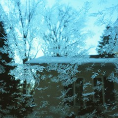 My view from my windshield this morning after Jack Frost touched it!