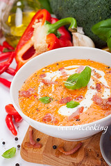 Soup with sweet peppers and carrots