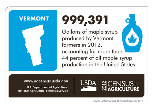 Just 609 gallons more - then Vermont would have produced a million gallons of maple syrup in 2012! That could cover a lot of waffles and pancakes. Check back next week for another state spotlight from the 2012 Census of Agriculture.