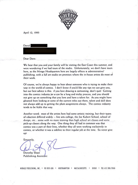 MIRAGE PUBLISHING ::  Note to Tokka from Dorothy Sloan, Former Publishing Assistant at Mirage (( April 12, 1993 ))