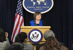 Under Secretary of State for Economic Growth, Energy, and the Environment Cathy Novelli discusses the President's Trade Agenda for 2015 at the Washington Foreign Press Center in Washington, D.C., on March 3, 2015. [State Department photo/ Public Domain]