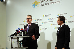 U.S. Ambassador to Ukraine Geoffrey Pyatt introduces Deputy Secretary of State Antony 'Tony' Blinken to speake at the Ukraine Crisis Media Center in Kyiv, Ukraine, on March 6, 2015. [State Department photo/ Public Domain]