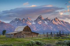 Barn at Mormon Row With Grand Teton as Background - Sunrise