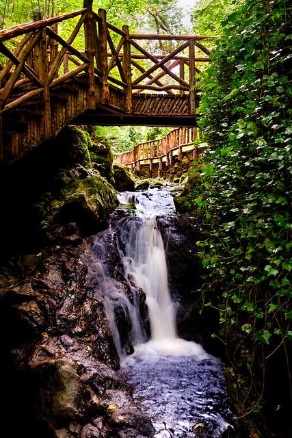The Glen Grant distillery garden waterfall