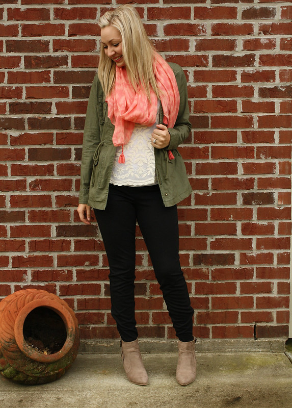 lace and utility jacket