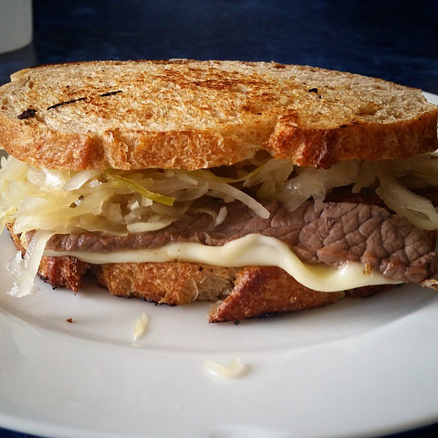 "Up close and personal with the ""homemade"" Reuben I had for lunch. #krautfordays"