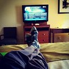 My view from here. Feet up, relaxing in a motel room, hydrating, carb loading, getting ready for tomorrow's marathon. Oh what a wild life i lead